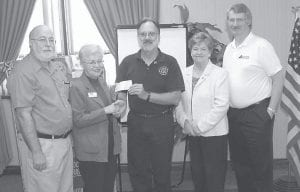 SCHOLARSHIP PLEDGE -  The Whitesburg Rotary Club recently completed a $3,000 pledge for scholarships to Southeast Kentucky Community and Technical College. Pictured are (left to right) Eugene Meade, SKCTC Whitesburg Campus director; Dr. Judy Leonard, director of advancement; Roy Crawford, Whitesburg Rotary Club president; Katherine Peters and Reed Caudill, Whitesburg Rotary Club members and past presidents.