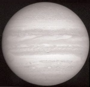 NASA This image of Jupiter is produced from photos taken by New Horizons.The telescopic camera snapped the images when the spacecraft was 18 million miles from Jupiter.
