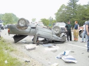 ILLNESS SUSPECTED IN CRASH -  Tilitha Campbell died when the pick-up truck she was driving overturned on the Whitesburg Bypass. Authorities believe she might have suffered a heart attack before the crash.