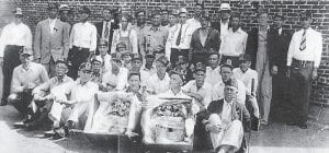 FUNERAL GATHERING -  Pictured are some of the mourners at the funeral of Fred Blankenship, who died in an accident at the Elkhorn Jellico Coal Co. mine at Marlowe in 1931. Oma Hatton says,