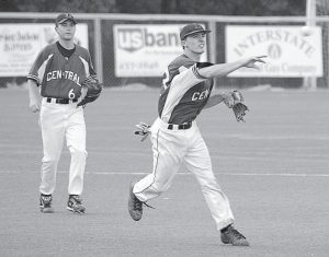 Letcher Central third baseman John Adams comes up throwing on a play while shortstop Tanner Sexton provides backup during tournament action last week. (Photo by Chris Anderson)