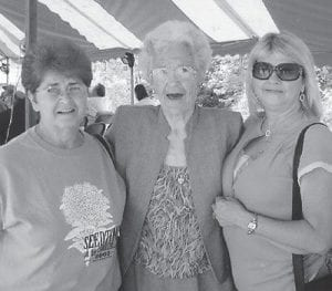 AT THE FESTIVAL -  Dorothy York of Thornton, visited the Seedtime Festival with her two nieces, Patsy and Betty.