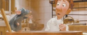Disney Enterprises, Inc. and Pixar Animation Studios provided this photo of (left to right) Remy and Linguini in