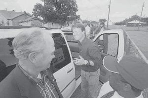 Democratic presidential hopeful John Edwards left a stop in Helena-West Helena, Ark., on Monday after speaking to home healthcare workers. He will be in Letcher County Wednesday. (AP Photo/Danny Johnston)