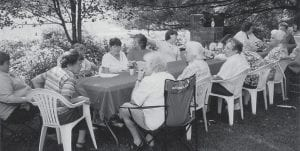 ENJOYING THE OUTDOORS -  The Letcher Area Homemakers recently had an outdoor meeting and lunch at the home of Peggy and Rudell Blair at Sycamore in the Jeremiah community. Approximately 20 members attended and all enjoyed the day.