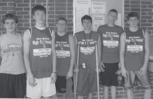 BLUE CHIP CAMPERS -  Six Letcher County middle school basketball players recently attended Rick Bolus' High Potential Blue Chip Basketball Camp in Georgetown. They competed against some of the best talent in several states and finished runners-up in the final day tournament. Pictured are (left to right) Caleb Baker and Matt Boggs, Whitesburg Middle School; Trenton Whitaker, Martha Jane Potter Elementary School; Jake Dixon, Letcher Elementary School; Kendall Ballou, MJP; and Logan Johnson, WMS.