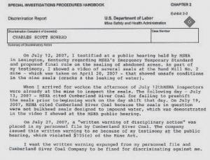 Shown above is a copy of a portion of the discrimination complaint Letcher County coal miner Charles Howard filed with the U.S. Department of Labor.