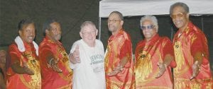 Jenkins native Chuck Johnson (third from left) performed music as an opening act for original Drifter Benny Anderson (second from left) and his band which tours as The Drifters.