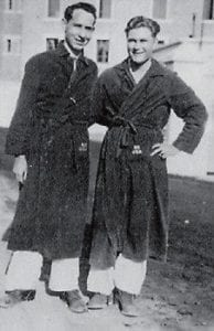 RECUPERATING -  H.D. Caudill (left) and a friend are pictured at an Army hospital in Marseilles, France in May 1945.