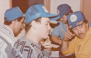 This photo shows a younger Hall (far right) during a radio auction held to raise money for the Neon Area Jaycees. From left are Bryan Gooch, James Adams and Sonny Bates.