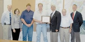 AT PRESENTATION -  Dwight Lewis, Letcher County ATC Principal Barbara Ison,Tony Pennington, Paul Jackson, John Marks, Finley Begley, and Michael Kindred are pictured in the offices of TECO subsidiary Perry County Coal.
