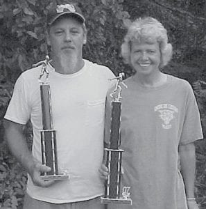 CHAMPS -  The champions of the Isom Day horseshoe tournament are the husband-and-wife team of Manuel and Mattie Watkins.