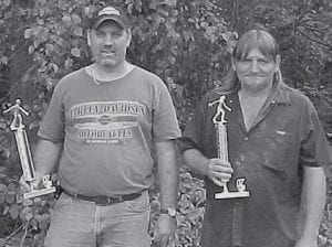 THIRD PLACE -  Gary Eldridge and Vickey Halcomb came in third in the Isom Day horseshoe tournament. Gary Eldridge also won the ringer contest.