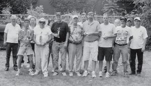TOURNEY WINNERS -  Winners of the Jenkins Homecoming Days horseshoe tournament are (left to right, front row) Tim