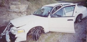 This Norton, Va., city police cruiser was stolen and later wrecked near Jenkins.