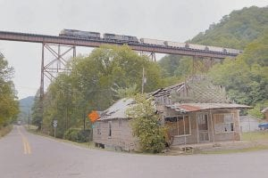 HIGH BRIDGE -  This CSX coal train was photographed recently after it left Letcher County and crossed into Knott County near the community of Kite. The train was being pulled by the