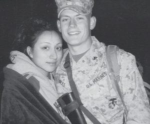 BACK FROM IRAQ -  Neil Miles, the son of Gary and Brenda Miles of Georgetown, formerly of Letcher County, has just returned from Iraq. Pictured with him is his wife, Karina, who is also in the Marines and has served in Iraq. They are both stationed in Yuma, Ariz. He is the grandson of Glenn and Dorothy Miles of Big Cowan.