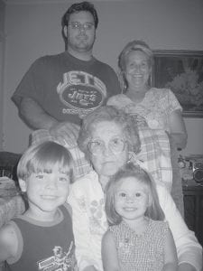 BIRTHDAY -  Ruby Caudill celebrated her 95th birthday September 24. Seated with her are her great-grandchildren, Prince Johann and Princess Ruby Miranda. Standing are her grandson, Andy Miranda, and her daughter, Deborah Miranda.