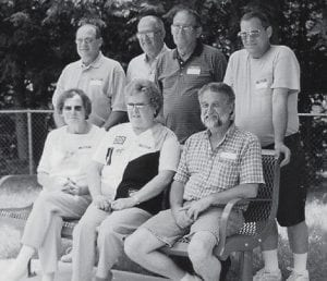 REUNION -  The children of the late Hiram and Ella Caudill Pridemore recently gathered for a reunion. Pictured are (left to right, seated) Elva Louise Marshall, Billie Jean Smith, Darrell Pridemore, (back row) Lenville Pridemore, Lee Pridemore, Don Pridemore, and Ford Pridemore.