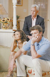 DOUBLE DUTY -  At left, Eva Longoria, John Slattery and Nathan Fillion in an episode of ABC's