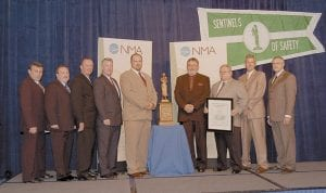 IN WASHINGTON TO RECEIVE AWARD -  Premier Elkhorn Coal Company employees (from left) Bob Zik, Neil Sesco, Mitch Bentley, Sammy Elswick, Eddie Durbin, David Wilder and John Brown were at the J.W. Marriott hotel in Washington, D.C., recently to receive the Sentinels of Safety Award. At far right is MSHA's Richard Stickler.