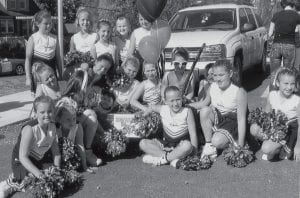 PRIZE WINNERS -  The West Whitesburg Pee Wee Cheerleaders won second place walking unit in the 25th anniversary Mountain Heritage Parade. They will celebrate their victory with a swimming party at the Pavilion in Hazard. Pictured are (left to right, back) Sarah Halcomb, Tori Ison, Holly Collins, Morgan Blair, Emiley Cook, (middle) Saranna Hampton, Emily Baker, Ashley Benton, Kori Strauss, Jaden Richardson, Casey Sturgill, (front) Hannah Wampler, Kaitlyn Davis, Stephanie Hurst, mascot Brooke Lucas, Emily Stidham, Caitlyn Bates, and Courtney Jackson. Not pictured are Raeann Fultz, Alyssa Adams, and coach Katina Benton.