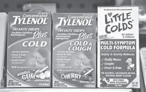 Several types of childrens' cold medicines that have been voluntarily recalled remained on the shelf at a drug store in Washington, D.C., late last week. From left are: Concentrated TYLENOL Infants' Drops Plus Cold, Concentrated TYLENOL Infants' Drops Plus Cold & Cough, and Prestige Brands' Little Colds Multi-Symptom Cold Formula. (AP Photo/J. Scott Applewhite)