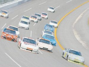 Future Joe Gibbs Racing and Toyota driver Kyle Busch led a pack of cars during testing at Talladega Superspeedway recently. (Rusty Jarrett/Getty Images for NASCAR)