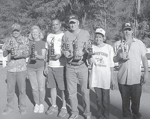 HORSESHOE TOURNAMENT -  Winners of the Mountain Heritage Horseshoe Tournament were (left to right) Ronnie Yonts and Maxine Bates, first; Robert Tackett and Gary Duncan, second; and Mattie Watkins and Manual Watkins, third. Gary Duncan also threw the most ringers in the tournament.