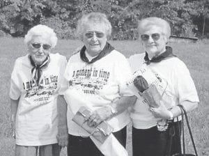 GRAND MARSHALS -  The grand marshals of the Isom Day Festival Parade were June Breeding, Mabel Buttrey, and Ruby Breeding.