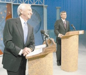 FINAL DEBATE Republican Gov. Ernie Fletcher, right, and his Democratic challenger Steve Beshear listened to instructions prior to their final televised debate in Lexington on October 29. (AP Photo/Ed Reinke)