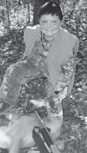 FIRST DEER -  This button buck was killed in Carter County by 10- year-old Cody Hampton. He is the son of Tommy and Ellen Hampton of Fleming-Neon, and the grandson of Jimmy and Starla Hampton of Jackhorn. This was Cody's first deer.