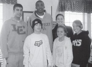 BREAKFAST WITH A WILDCAT -  These four had breakfast in Lexington with Perry Stevenson, #21 on the University of Kentucky Wildcat basketball team. Pictured are (front row, left to right) Joey Collins, Kyli Breeding, (back row) Matthew Buell, Stevenson, and Allie Bentley.