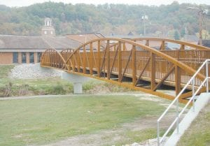 NEW BRIDGE PLANNED -  The City of Whitesburg is moving ahead with plans to build a pedestrian bridge that will be modeled after this one in the Magoffin County town of Salyersville, Whitesburg Mayor James Wiley Craft announced in his