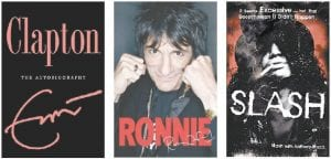 New books have been released by Eric Clapton (left), Ronnie Wood of the Rolling Stones (middle), and Velvet Revolver guitarist Slash (right). Sting, Genesis, and Motley Crue bassist Nikki Sixx also have books out. (AP Photo/Broadway Books)
