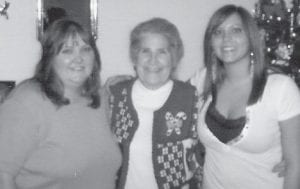 GOOD FRIENDS -  Donna Branham, Oma Hatton and Kayla Branham are pictured at the Branham home after a great meal.