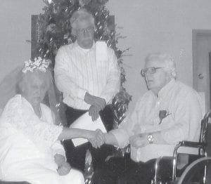 MARRIED -  Charles Ted Baker of Whitesburg, and Cordia McCray of Neon, exchanged wedding vows on December 4 at Letcher Manor Nursing and Rehabilitation Facility. The ceremony was performed by Joe Brown of the Neon Pentecostal Church, who has known the couple for years. The couple are the first to wed at Letcher Manor.