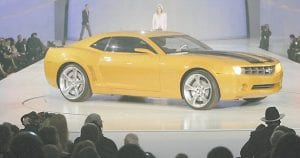NEW CAMARO -  The Chevrolet Camaro Bumblebee was introduced by GM over the weekend in Detroit. (AP Photo/Paul Sancya)