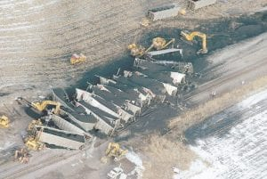 DELAYED SHIPMENT -  Work crews were left to clean up 33 train cars of coal after a Union Pacific train carrying coal from the Powder River Basin derailed near Carroll, Iowa, earlier this month while on its way East. (AP Photo/Carroll Daily Times Herald, Jeff Storjohann)