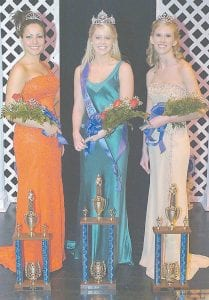 PAGEANT WINNERS -  Kela Janay Tolliver, center, was crowned recently as the new Miss Southeast Kentucky Community and Technical College. At left is first runnerup Wanda Jeanenne Lockaby of Cumberland. Second runnerup Danielle Cornett of Linefork is on the right.