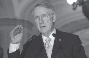 Senate Majority Leader Harry Reid of Nevada gestured recently while meeting with reporters on Capitol Hill in Washington. Reid is among a number of powerful voices in Washington who are lining up against coal. (AP Photo/Dennis Cook)