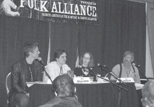 FOLK ALLIANCE -  Representatives of Appalshop recently participated in 20th annual Folk Alliance Conference in Memphis. Pictured are (left to right) Gary Allegretto from HarmoniKids in Los Angeles; Eric Delli Bovi, director of External Affairs for Old Town School of Music in Chicago; Suzzanne Savell from Appalshop and the Cowan Community Center, and Appalshop Director Art Menius.