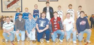 BOYS' ALL-DISTRICT -  Member of the All-53rd District Tournament Team for 2008 are: (back row, from left) Josh Proffitt, Devon Blair, and Charlie Banks (Letcher County Central); Garrison Collins (June Buchanan); Josh Taylor, Zach Hurt, and Josh Mosely (Cordia); (front row, from left) Nathaniel Wilder (Jenkins); Tate Cox (June Buchanan); Eric Grimm (Jenkins); Richard Caudill and Stewart Stamper (Knott Central); Chris Puckett (Jenkins), and Jarrod Amburgey (Knott Central). (Photo by Chris Anderson)