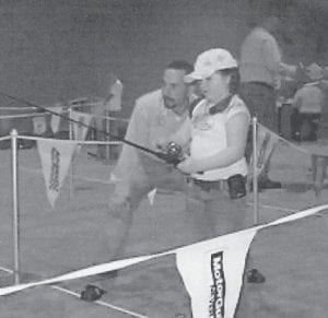 FISHING COMPETITION -  Katie Braswell participates in the 2008 Bassmaster CastingKids competition at the Bassmaster Classic in Greenville, S.C. She is the granddaughter of Bill and Mae Whitaker of Whitesburg.