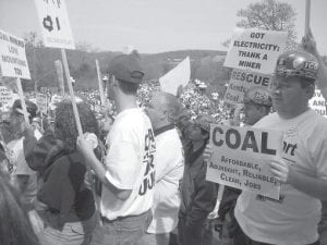 More than 1,000 coal miners staged a rally on the front lawn of the state Capitol in Frankfort last week to protest legislation that they fear could eliminate their jobs. (AP Photo/Roger Alford)