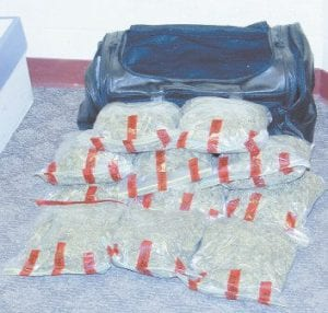 The Letcher County Sheriff's Department says these 11 bags of marijuana were found hidden in a black duffle bag in a Ford Explorer on Turkey Creek at Linefork.