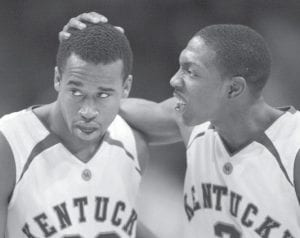 Kentucky's Ramel Bradley, right, and Joe Crawford return to the NCAA Tournament this week, taking on Marquette in the first round of the South Regional in Anaheim, Calif. The game begins at 2:30 p.m. on March 20. (AP Photo/Brian Kerseym)