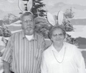 MR. AND MISS EASTER BUNNY -  Metry Kuracka was named Mr. Easter Bunny and Shirley Day was named Miss Easter Bunny at the Ermine Senior Citizens Center.