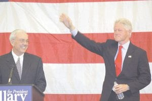 TWO FORMERS -  Former Kentucky Gov. Paul Patton introduced former U.S. President Bill Clinton during Clinton's stop in Pikeville on April 3. (Photo by Chris Anderson)