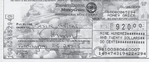 Pictured above is one of the three counterfeit money orders.